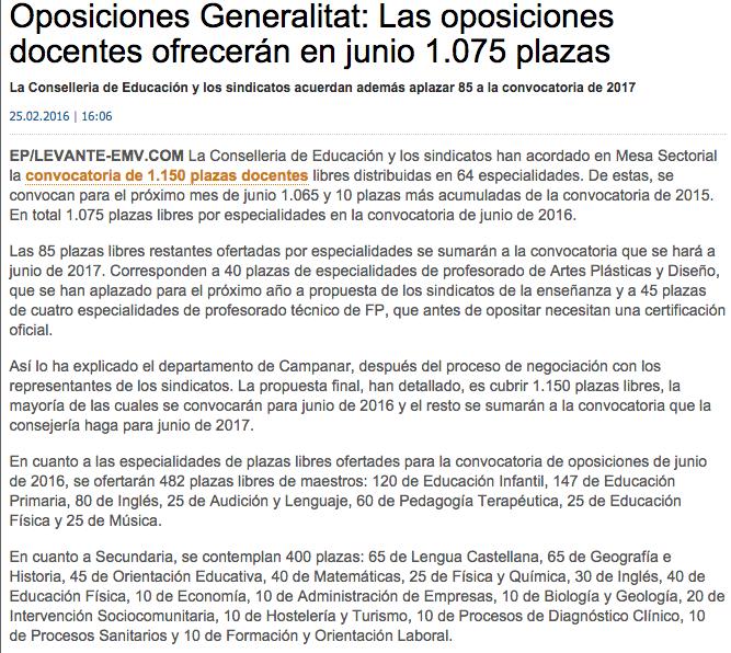 Oposiciones c valenciana 10 plazas econom a y 10 plazas for Convocatoria de plazas docentes 2017